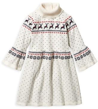 Janie and Jack Baby's, Little Girl's & Girl's Reindeer Turtleneck Sweater Dress