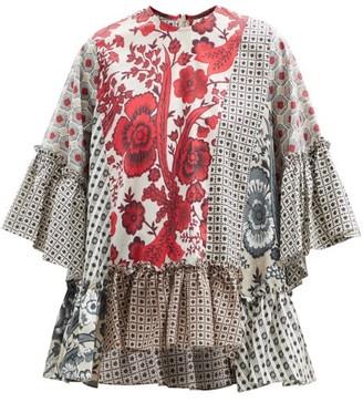 Biyan Sello Patchwork Cotton Blouse - Red Multi
