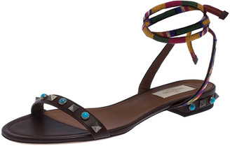 Valentino Multicolor Leather Rockstud Rolling Ankle Wrap Flat Sandals Size 37