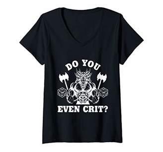 Womens Do You Even Crit Gym Workout Cardio Funny DM Strong Athlete V-Neck T-Shirt