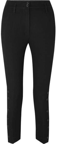 Ann Demeulemeester Cropped Wool And Cotton-blend Twill Tapered Pants - Black