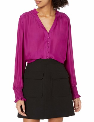 Parker Women's Long Sleeve Blouse with Button Front Details and Smocking at The Cuffs