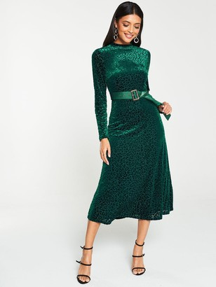 Very Leopard DevoreMidi Dress - Green