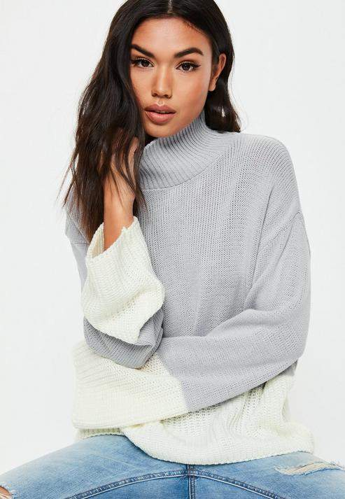 Gray Colorblock High Neck Knit Sweater