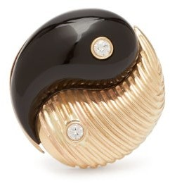 Yin & Yang Retrouvai - Yin Yang Diamond & 14kt Gold Ring - Womens - Black