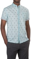 Free Nature Palm Tree Printed Shirt - Woven Cotton, Short Sleeve (For Men)