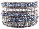 Chan Luu Denim Blue Crystal Mix Wrap Bracelet / Natural Grey Leather