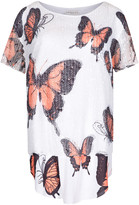 Apricot White Coral & Black Butterfly Print Tunic Top