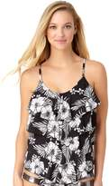 Cole Of California Women's Cole of California D-Cup Floral Tiered Ruffle Tankini Top