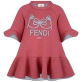 Fendi FendiGirls Pink Neoprene Ruffle Trim Dress