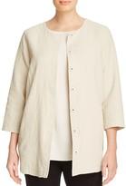 Eileen Fisher Plus Textured Round Neck Jacket