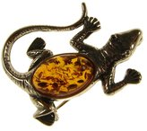 Cozmos Brooches BALTIC AMBER AND STERLING SILVER 925 DESIGNER COGNAC LIZARD BROOCH PIN JEWELLERY JEWELRY