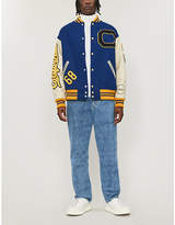 CALVIN KLEIN 205W39NYC Appliquéd leather and wool varsity jacket
