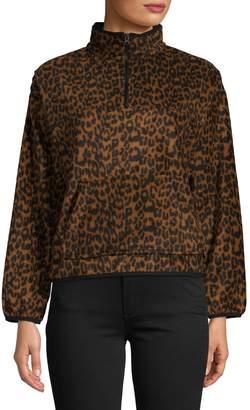 Bassike Cheetah-Print Fleece Mockneck Sweater
