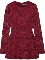 Lela Rose Grosgrain-trimmed Corded Lace Peplum Top - Claret