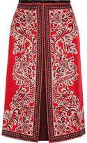 Alexander McQueen Paisley-print Silk-twill Skirt - Red