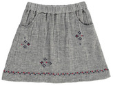 Nice Things Embroidered Linen and Cotton Skirt