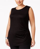 Alfani Plus Size Ruched Sleeveless Top, Only at Macy's