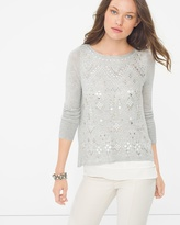 White House Black Market Petite Embellished Split-Back Sweater
