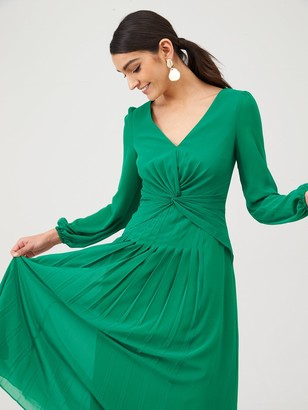 Very Twist Front Midaxi Dress - Green