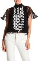 Gracia Chain Embroidered Sheer Mesh Blouse