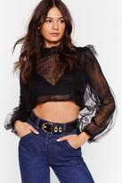 Nasty Gal Womens Lace Go Dancing Mesh Crop Top - black - S
