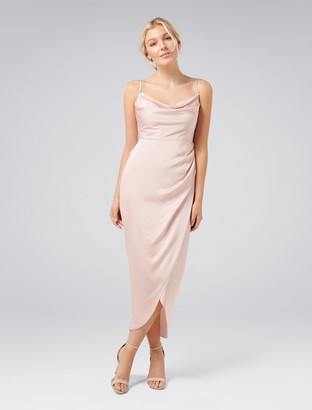 Forever New Holly Petite Cowl Neck Dress - Blush - 12