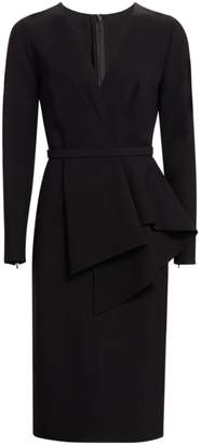 Oscar de la Renta Long Sleeve Peplum Midi Dress
