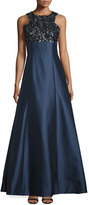 Monique Lhuillier Sleeveless Embellished-Bodice Ball Gown, Navy