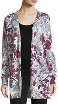 Neiman Marcus Cashmere Floral-Print Open-Front Cardigan