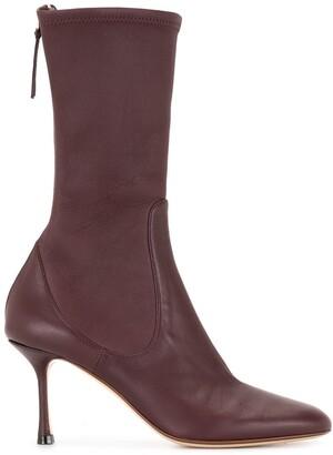 Francesco Russo Calf-Length Leather Boots