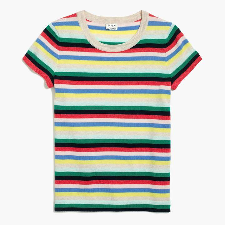 J.Crew Striped cashmere short-sleeve T-shirt