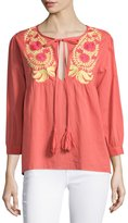 Raga Long-Sleeve Embroidered Peasant Tunic, Coral