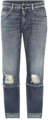 Dolce & Gabbana Distressed mid-rise cropped jeans