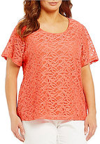 Calvin Klein Plus Short Sleeve Abstract Lace Top