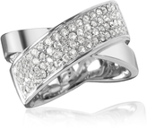 Michael Kors Silver Stainless Steel and Crystal Pave Women's Ring