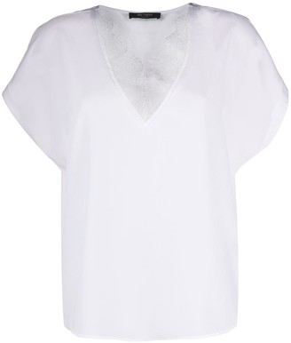 Twin-Set lace trim V-neck T-shirt