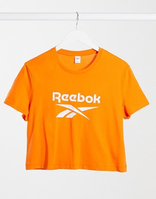adidas Reebok large logo crew neck cropped t-shirt in white