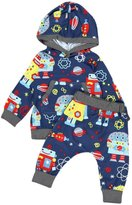 Flank Baby Boys Cartoon Print Sweatershirt Hooded Tops+ Pants Outfits Baby Set
