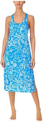 Lauren Ralph Lauren Plus Size Slub Jersey Knit Sleeveless Twisted Back Ballet Gown with Soft Bra (Blue Floral) Women's Pajama