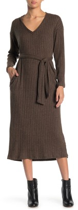 Lush V-Neck Brushed Rib Sweater Midi Dress