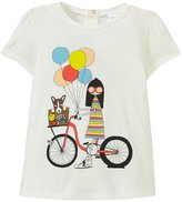 Little Marc Jacobs T-Shirt Miss Marc With Bike (Toddler) - Off White-3A