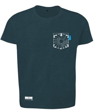 Anchor & Crew Steel Blue Explorer Print Organic Cotton T-Shirt Mens