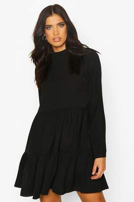 boohoo High Neck Tiered Volume Sleeve Dress