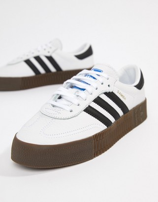 adidas Samba Rose sneakers In White With Dark Gum Sole