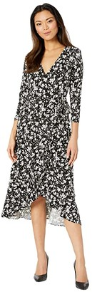 Lauren Ralph Lauren High-Low Jersey Dress (Polo Black/Silk White) Women's Clothing