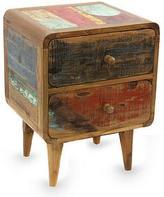 Vintage Look Side Table in Reclaimed Teakwood, 'Multicolor Rusticity'