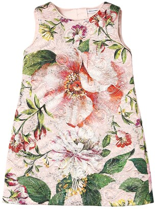 Dolce & Gabbana Floral Print Cotton Blend Brocade Dress