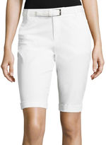 Liz Claiborne Belted Roll-Cuff Poplin Walking Shorts