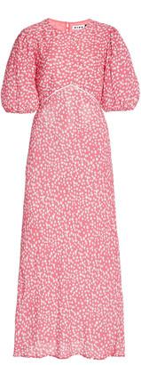 Rixo Delilah Puff-Sleeve Printed Crepe Midi Dress